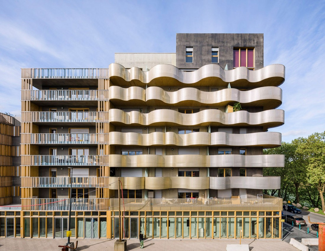 LIle Saint Denis, Apartment Complex, Perforated Aluminum, Paris, Peripheriques Marin Trottin Jumeau Architectes, Photography Sergio Grazia